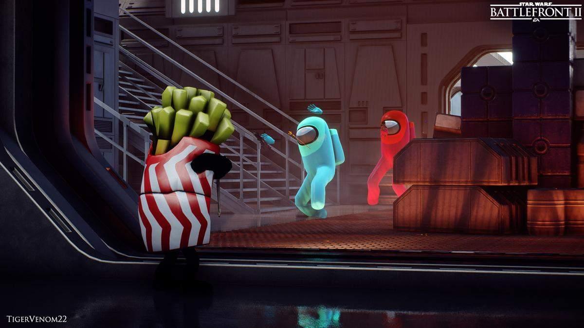 Ігри об'єднуються: персонажі Among Us та Fall Guys зійдуться у бою в Star Wars – фото, відео