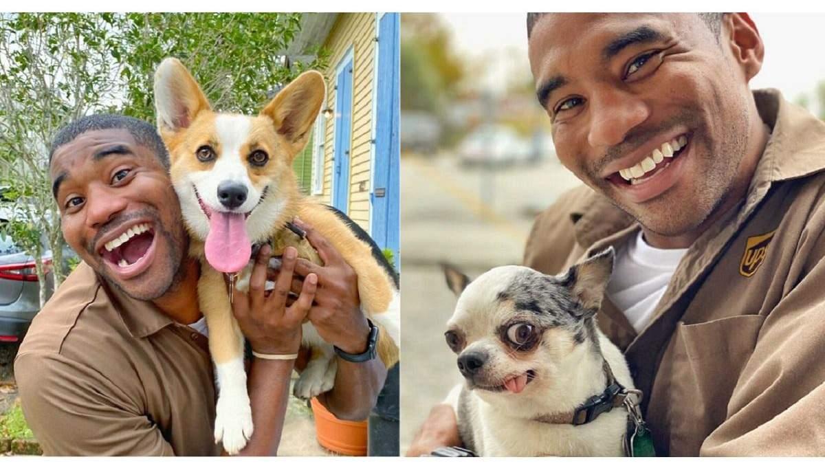 Водитель почтовой доставки фотографируется с щенками, которых встречает на маршрутах: милые фото
