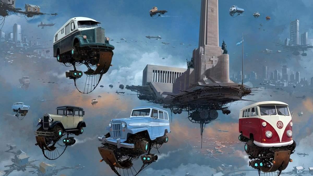 Автопарки небесних міст: футуристичні ілюстрації від аргентинського художника Алехандро Бурдісіо