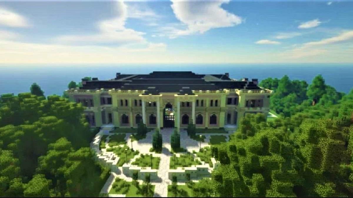 Геймеры создали копию дворца Путина со всеми деталями в Minecraft: видео