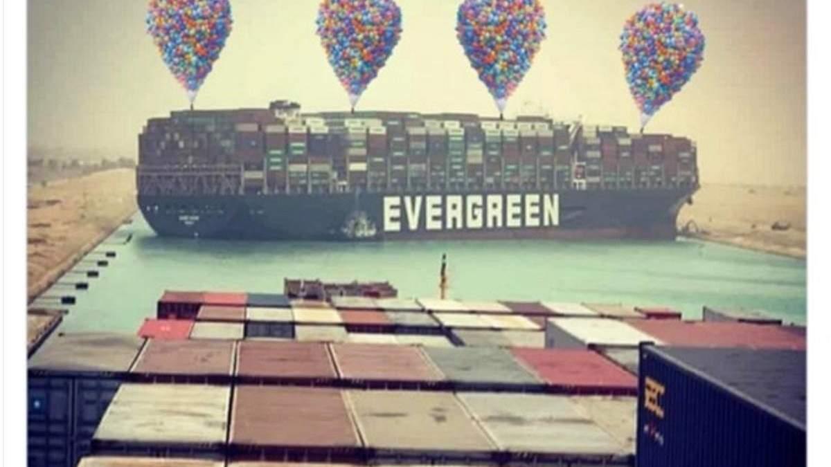 Пробки в Суэцком канале из-за контейнеровоза Ever Given: мемы и фотожабы