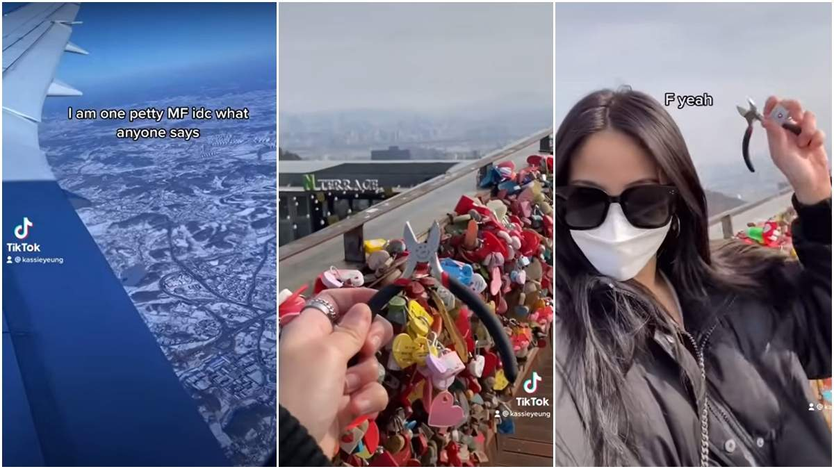 Тіктокерка полетіла до Сеула, щоб зняти замок кохання