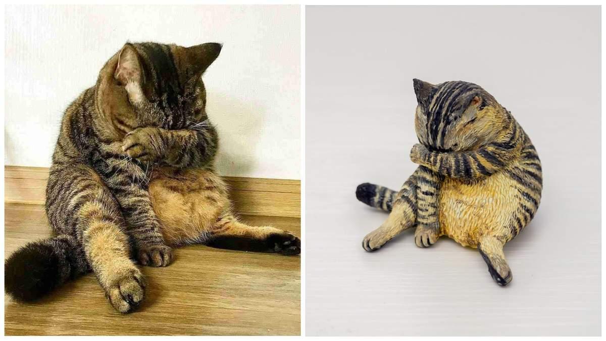 Японець перетворює популярні фотомеми з тваринами на смішні статуетки