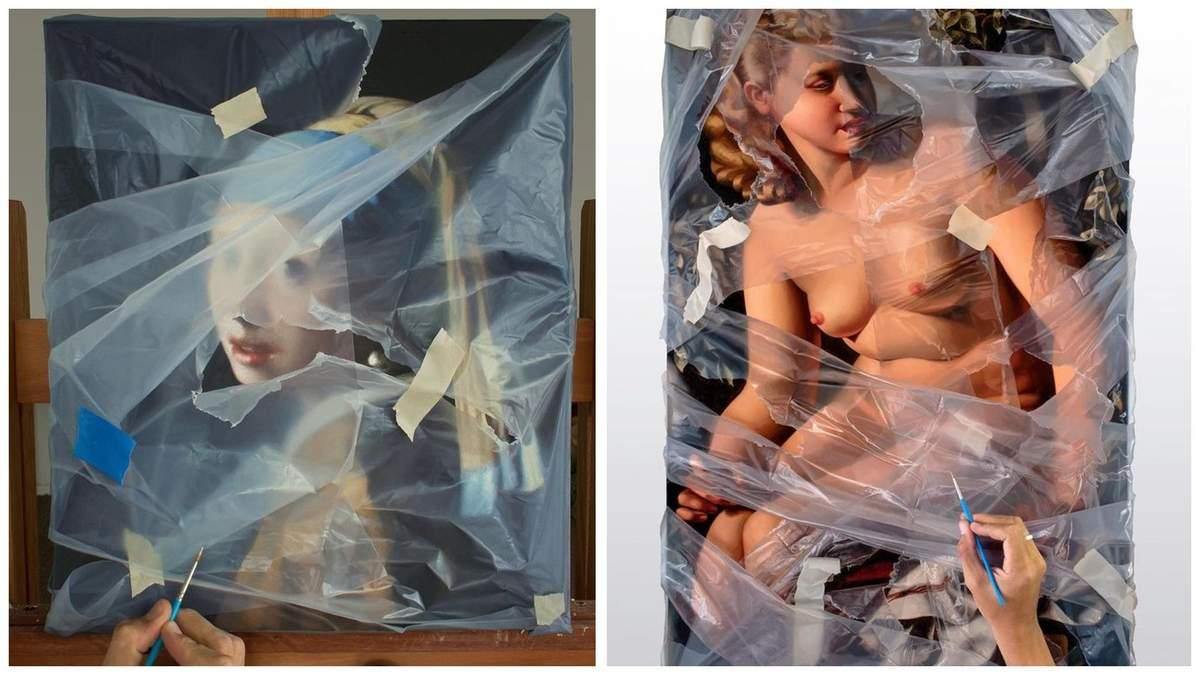 Художник відтворює відомі картини, які ніби обгорнуті у целофані