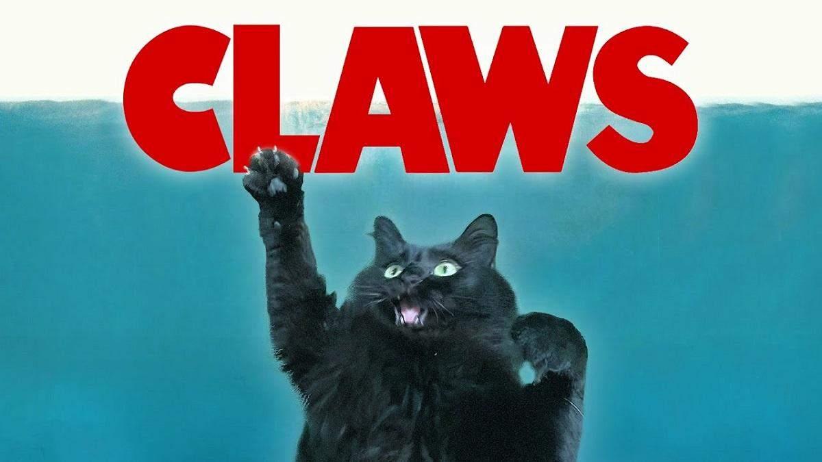 """OwlKitty у головній ролі: у """"Щелепах"""" Стівена Спілберга акулу замінили на кішку – кумедне відео"""