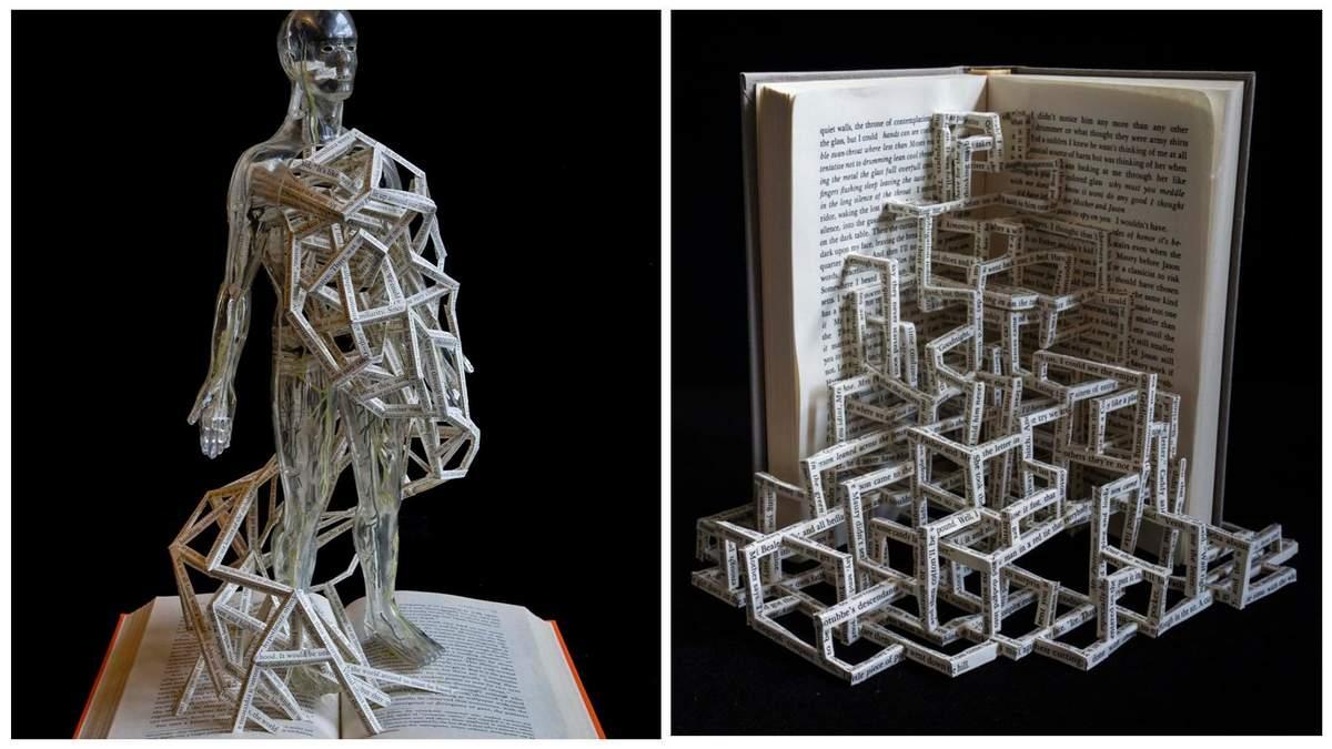 Художник переплетает случайные тексты в книжных скульптурах