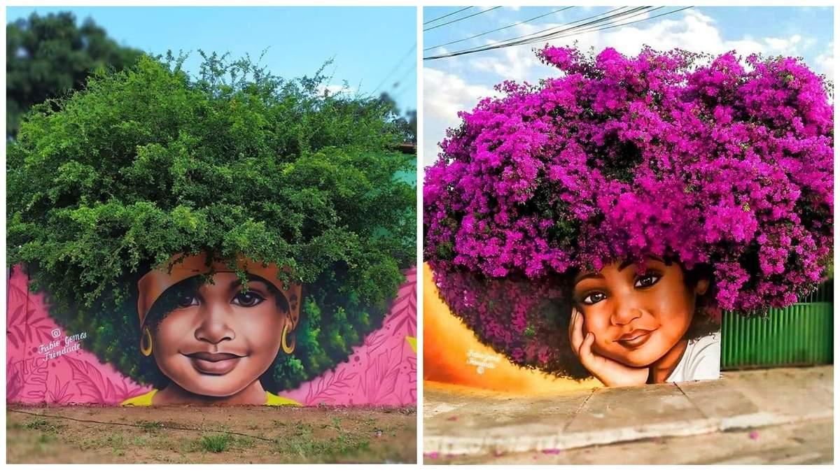 Уличный художник использует деревья в качестве волос для своих женских портретов