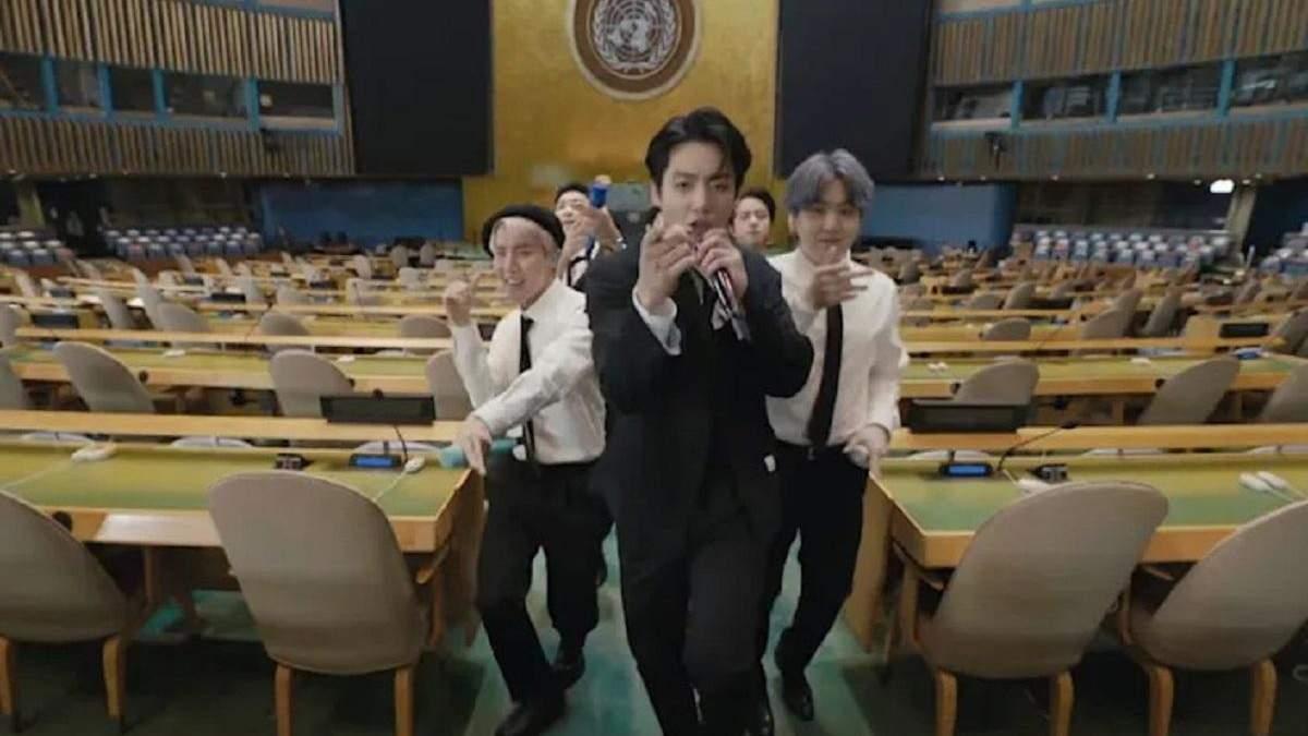 Корейская K-pop группа BTS сняла клип в зале Генеральной Ассамблеи ООН: зажигательное видео