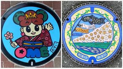 Пейзажі, рослини і покемони: японці перетворюють кришки люків на твори мистецтва