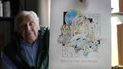 Пенсионер нарисовал 365 картин за год, чтобы не скучать в доме престарелых: фото