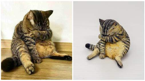 Японець перетворює популярні в інтернеті фотомеми з тваринами на смішні статуетки