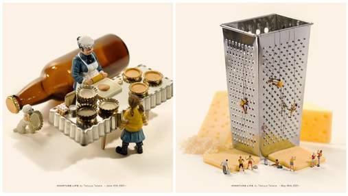Японец мастерит миниатюрные миры из предметов, которые находит дома