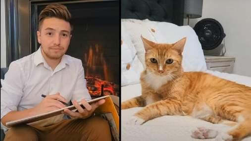"""Актор і його кіт відтворили відому сцену з """"Титаніку"""" та стали зірками мережі: кумедне відео"""